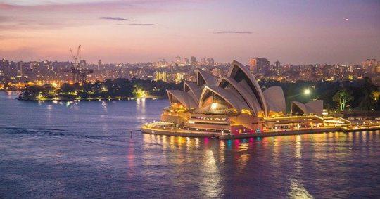 far shot of sydney opera house
